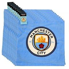 Manchester City FC Official Soccer Crest Face Cloth Set (Pack Of 12)