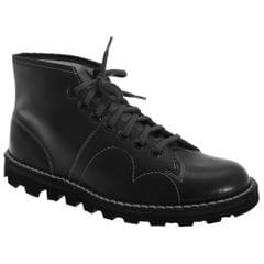 Grafters Mens Original Coated Leather Retro Monkey Boots