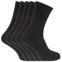 FLOSO® Mens Plain Cotton Rich Sport Socks (Pack Of 5)