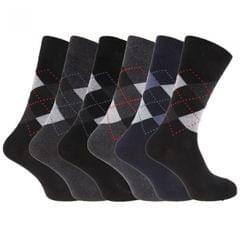 Mens Cotton Rich Argyle Patterned Socks (Pack Of 6)