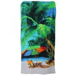Palm Tree & Beach Design Velour Beach Towel
