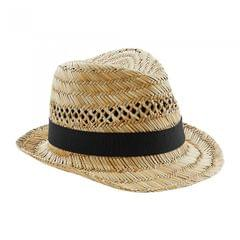 Beechfield Unisex Straw Summer Trilby Hat