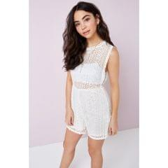 Girls On Film Outlet Womens/Ladies White Crochet Playsuit