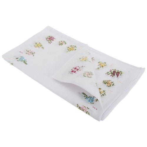 Womens/Ladies Floral Cotton Rich Handkerchiefs (Pack Of 8)