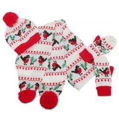 FLOSO Womens/Ladies Christmas Robin Winter Hat, Scarf & Mittens Set