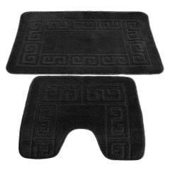 2 Piece Greek Key Pattern Bath Mat And Pedestal Mat Set