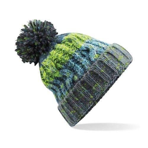Beechfield Unisex Adults Corkscrew Knitted Pom Pom Beanie Hat