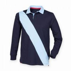 Front Row Mens Diagonal Stripe House Sports Rugby Polo Shirt