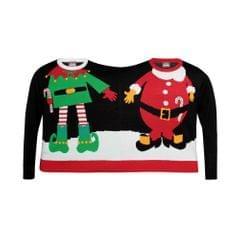Christmas Shop Unisex Doppel-Weihnachtspullover für Erwachsene mit Santa-/Elf-Deisgn