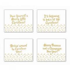 Platzsets mit weihnachtlichen Sprüchen, goldfarben, 4 Stück