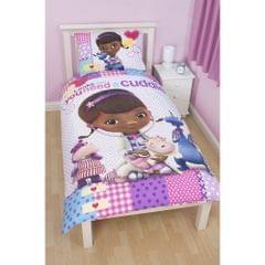 Disney Doc McStuffins Childrens Girls Patch Reversible Duvet Cover Bedding Set