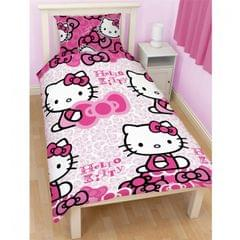 Childrens Girls Hello Kitty Bows Single/Twin Duvet Cover and Pillowcase
