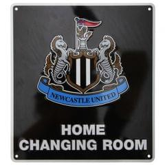Newcastle United Metall Schild Home Changing Room with Club Wappen