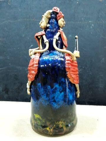 Decorated Bottle - Red on Blue
