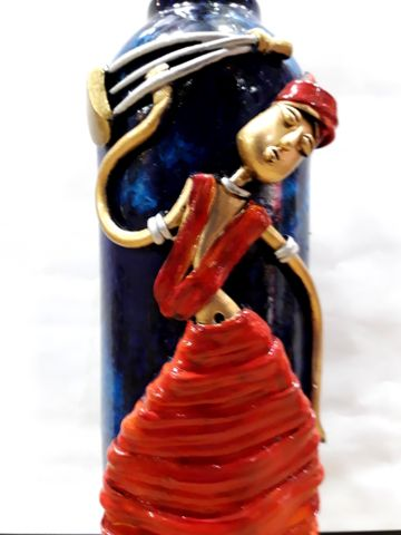 Decorated Bottle - Blue with Red
