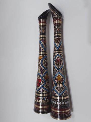 Slim Ornate Metal Vase - Pair