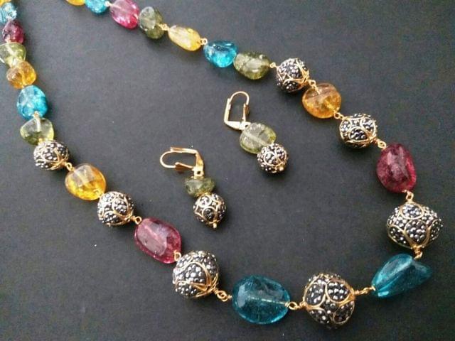 Stone necklace,studded with sem precious stones