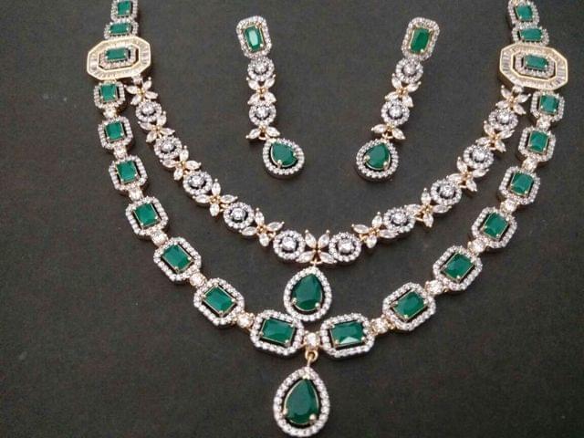 American Diamond Necklace with Semi Precious Stone