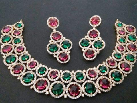 Multicoloured semi precious stone necklace long American Diamond coating with warranty of one year