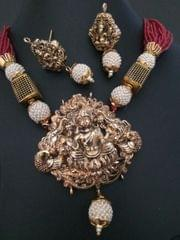 Precious Gold Plated Necklace Set with semi precious beads -1 year warranty.