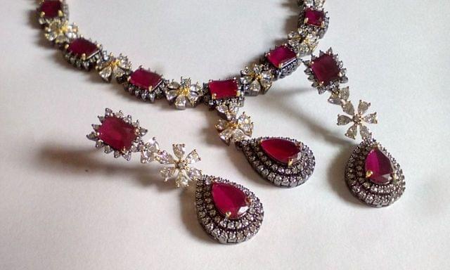 Beautiful American Diamond Necklace with semi precious stone