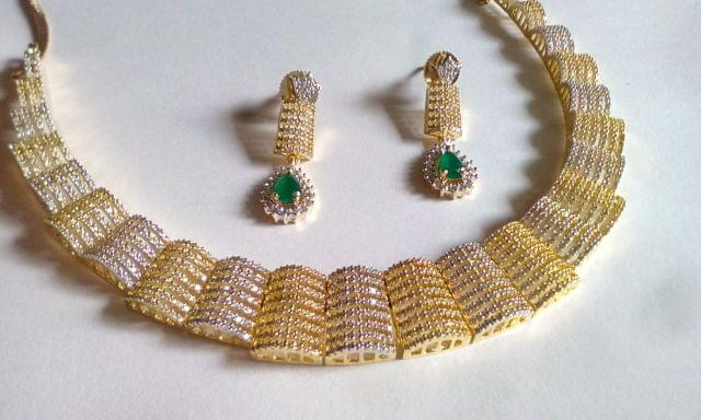 Beautiful American Diamond Necklace with semi precious stone
