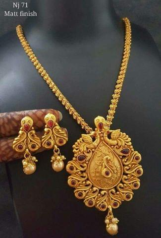 Gold Plated Pendant Set with an year warranty