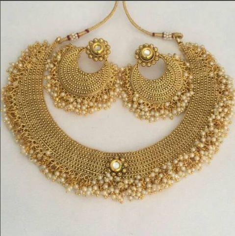 Gold plated Necklace with beautiful pair of Jhumka- with an year warranty
