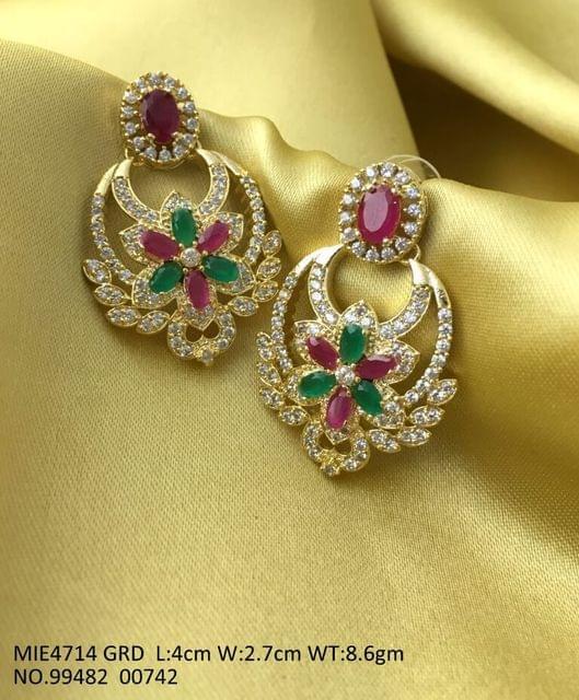 Gold plated earring wth american diamond stones .Base metal : Brass