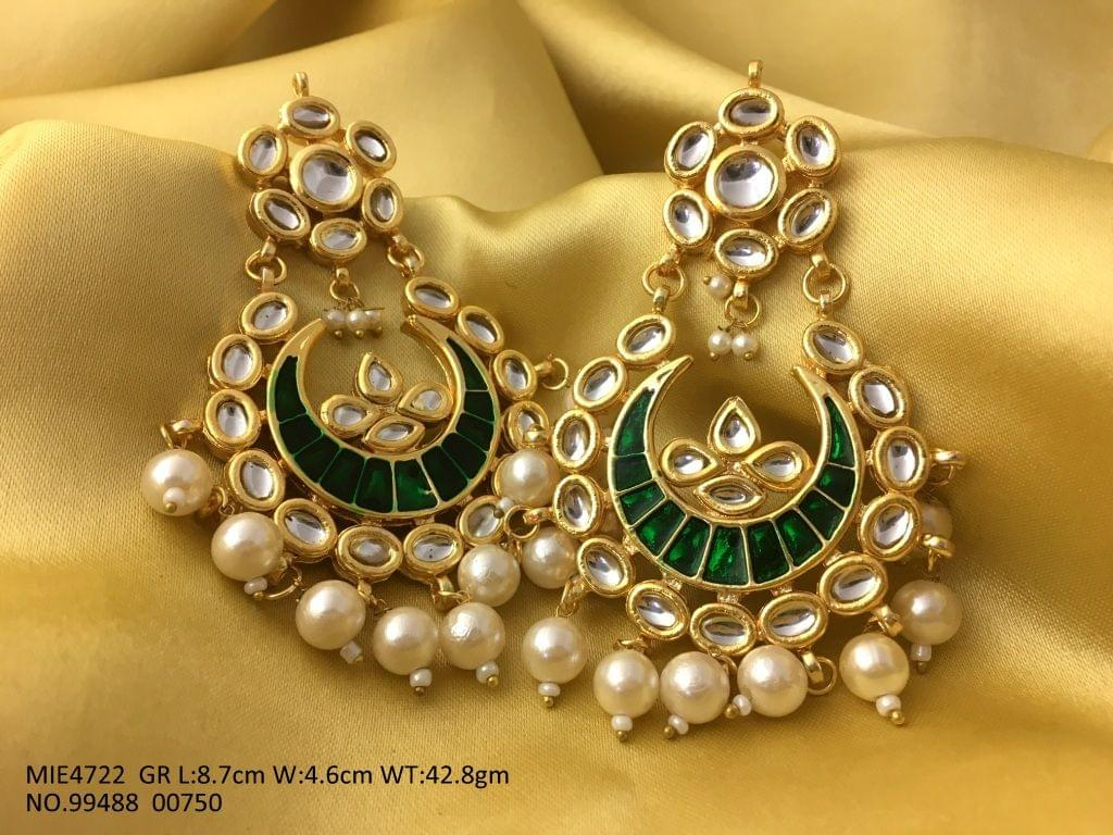 Kundan Earrings+ Hand Printed + Pearls jhumka  with an year warranty