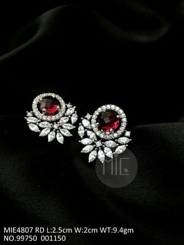 American Diamond Earring with semi precious stone with an year warranty