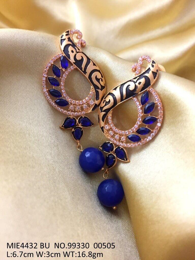 Brass + American Diamond Earring with an year warranty