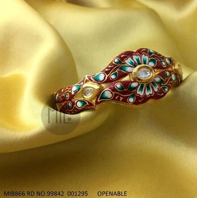 Handpainted Kundan Openable Bangle. Size - 2.4