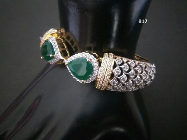 American Diamond Kada with Semi Precious Stone