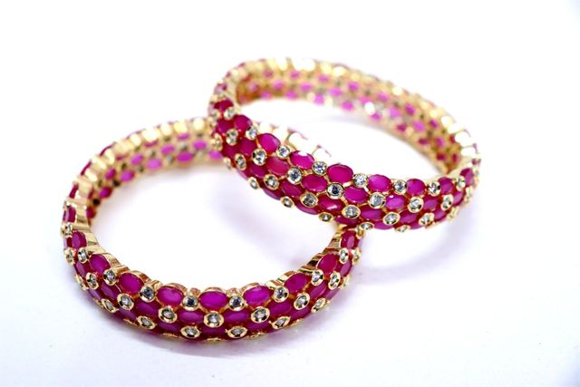 Ruby Stones studded pair of bangles