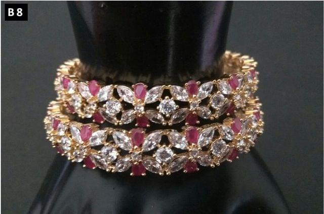 American Diamond bangles studded with semi precious stones