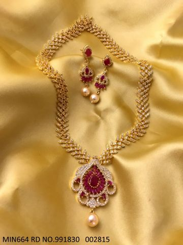 Beautiful American Diamond + Ruby Studded Necklace Set with an year warranty