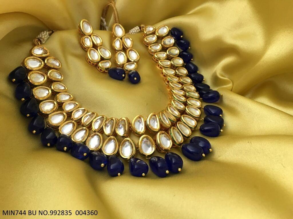 Beautiful Kundan+ Beads Necklace set with an year warranty