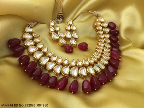 Beautiful Kundan+ Beads Necklace set with an year warranty