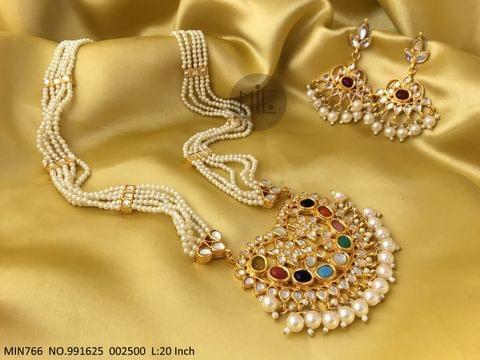 Beautiful Kundan+ Semi Precious Stone+ Pearl Necklace set with an year warranty