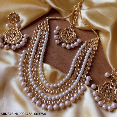 Kundan + Pearl Necklace with Beautiful pair of Jhumka/earrings