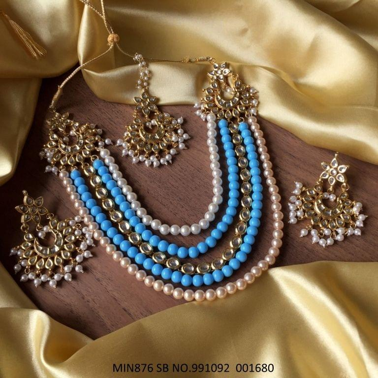 Kundan + Pearl Necklace with Beautiful pair of Jhumka/earrings and Mangtika