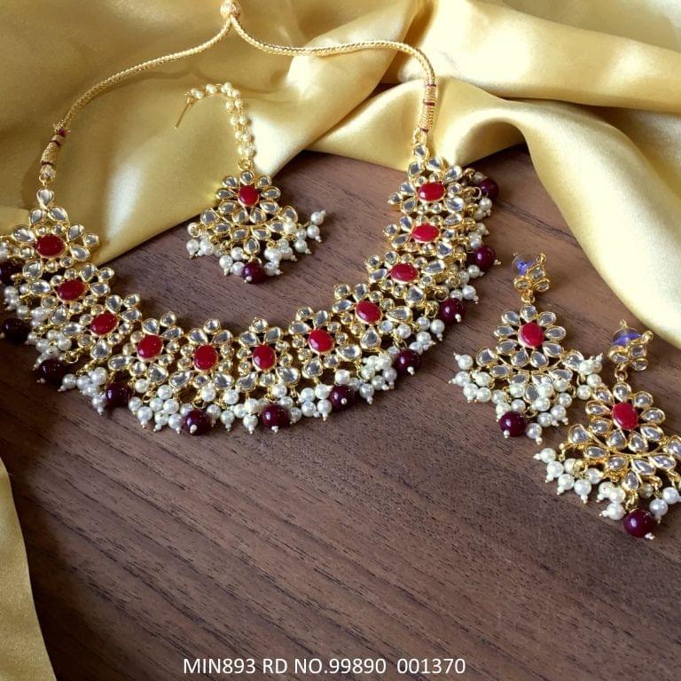 Kundan + Semi  Precious Necklace with Beautiful pair of Jhumka/earrings and Mangtika