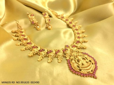 Godess Laxmi Gold Plated Necklace set with beautiful gold plated Earrings
