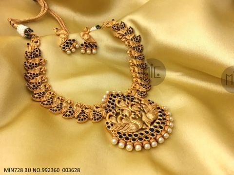 Peacock Designed Gold Plated Necklace set with beautiful gold plated Earrings.