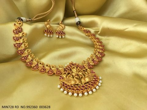 Peacock Designed Gold Plated Necklace set with beautiful gold plated Earrings