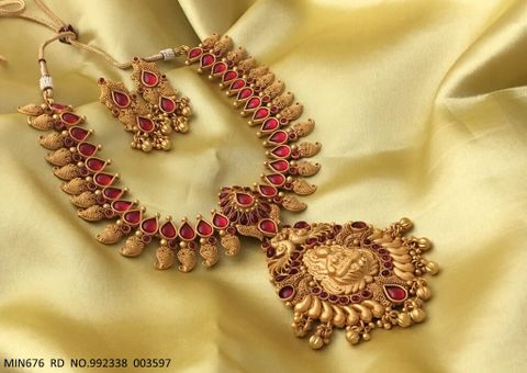 Goddess Laxmi + Peacock Designed Gold Plated Necklace set with beautiful gold plated Earrings