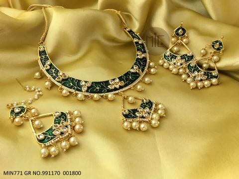 Buy this beautiful meenakari worked Necklace set, with beautiful air of jhumka and mangtika