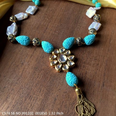 Buy this beautiful necklace made of Pearl Beads, Semi Precious Beads and Kundan Stones