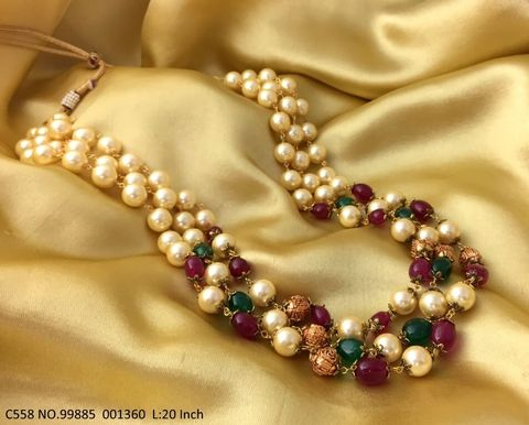 High quality Stones + Pearl Necklace with 2 years Warranty